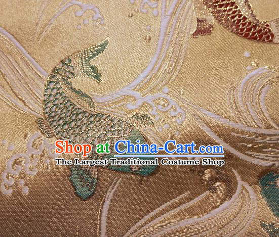 Asian Traditional Japanese Kimono Classical Fishes Pattern Golden Tapestry Satin Brocade Fabric Baldachin Silk Material