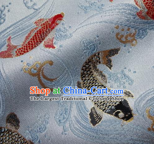 Asian Traditional Japanese Kimono Classical Fishes Pattern Blue Tapestry Satin Brocade Fabric Baldachin Silk Material