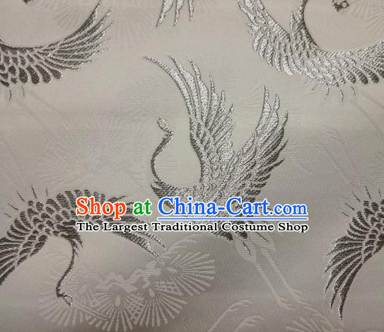 Asian Traditional Japanese Kimono Classical Cranes Pattern Tapestry Satin Brocade Fabric Baldachin Silk Material