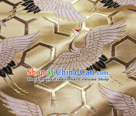 Asian Traditional Japanese Kimono Classical Cranes Pattern Golden Tapestry Satin Brocade Fabric Baldachin Silk Material