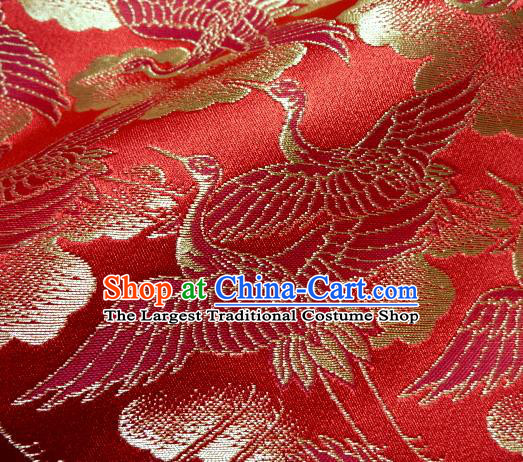 Asian Traditional Japanese Kimono Classical Cranes Pattern Red Brocade Tapestry Satin Fabric Baldachin Silk Material