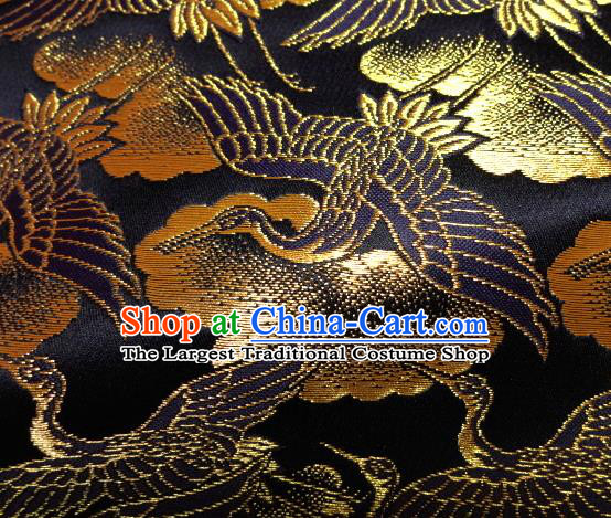 Asian Traditional Japanese Kimono Classical Cranes Pattern Black Brocade Tapestry Satin Fabric Baldachin Silk Material