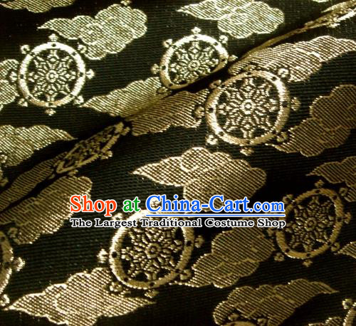 Asian Traditional Japanese Kimono Classical Wheels Pattern Black Brocade Tapestry Satin Fabric Baldachin Silk Material