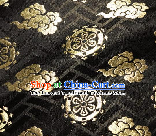 Asian Traditional Japanese Kimono Classical Cloud Wheels Pattern Black Brocade Tapestry Satin Fabric Baldachin Silk Material