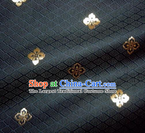 Asian Traditional Japanese Kimono Classical Flowers Pattern Navy Brocade Tapestry Satin Fabric Baldachin Silk Material