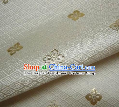 Asian Traditional Japanese Kimono Classical Flowers Pattern White Brocade Tapestry Satin Fabric Baldachin Silk Material