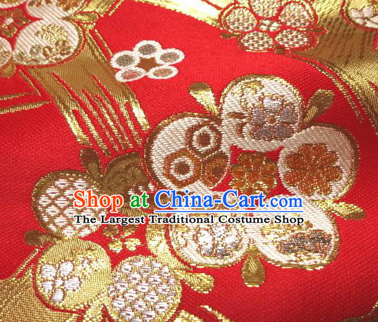 Asian Traditional Japanese Kimono Classical Pattern Red Brocade Tapestry Satin Fabric Baldachin Silk Material