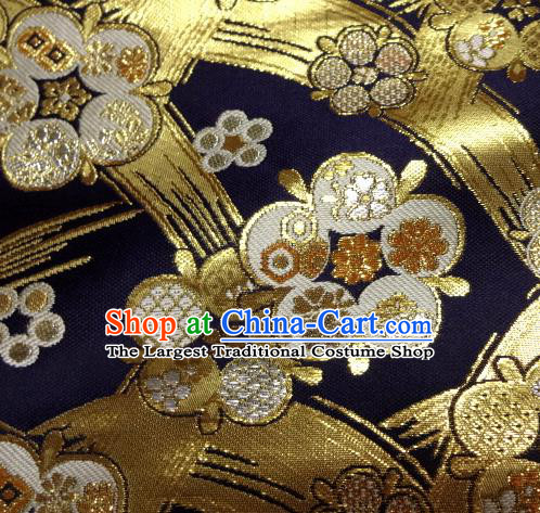 Asian Traditional Japanese Kimono Classical Pattern Navy Brocade Tapestry Satin Fabric Baldachin Silk Material