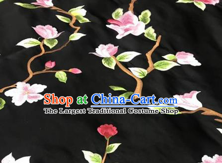 Asian Traditional Fabric Classical Embroidered Peony Pattern Black Brocade Satin Silk Material