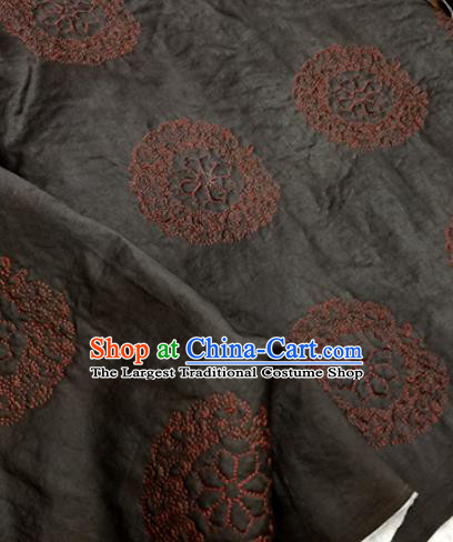 Asian Traditional Fabric Classical Embroidered Pattern Black Brocade Satin Silk Material