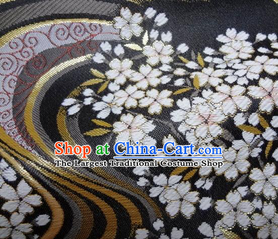 Asian Japanese Traditional Brocade Classical Sakura Pattern Black Baldachin Fabric Kimono Tapestry Satin Silk Material