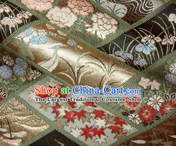 Asian Japanese Traditional Brocade Fabric Classical Orchid Pattern Baldachin Kimono Tapestry Satin Silk Material