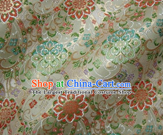 Asian Japanese Traditional Beige Brocade Fabric Classical Persia Pattern Baldachin Kimono Tapestry Satin Silk Material