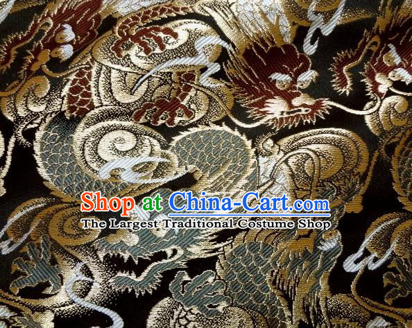 Asian Japanese Traditional Black Brocade Fabric Classical Dragons Pattern Baldachin Kimono Tapestry Satin Silk Material