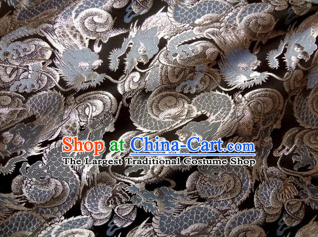 Asian Japanese Traditional Brocade Fabric Classical Blue Dragons Pattern Baldachin Kimono Tapestry Satin Silk Material
