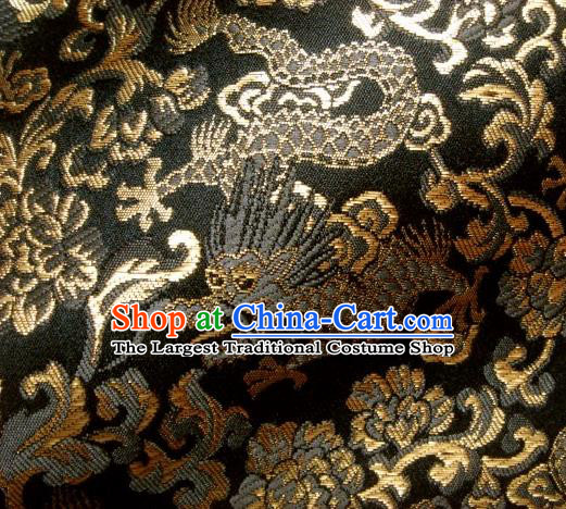 Asian Japanese Traditional Kimono Tapestry Satin Brocade Fabric Classical Dragons Pattern Baldachin Silk Material