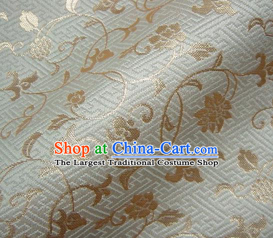 Asian Japanese Traditional Kimono Tapestry Satin Classical Golden Scroll Pattern Brocade Fabric Baldachin Silk Material
