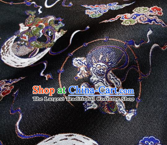 Asian Japanese Traditional Baldachin Classical Thunder God Pattern Black Brocade Fabric Kimono Tapestry Satin Silk Material