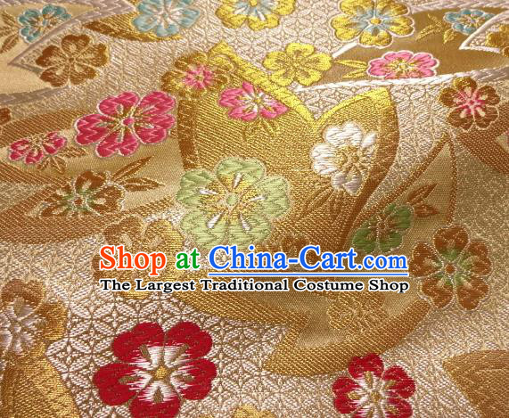 Asian Japanese Traditional Kimono Golden Tapestry Satin Classical Plum Blossom Pattern Brocade Fabric Baldachin Silk Material