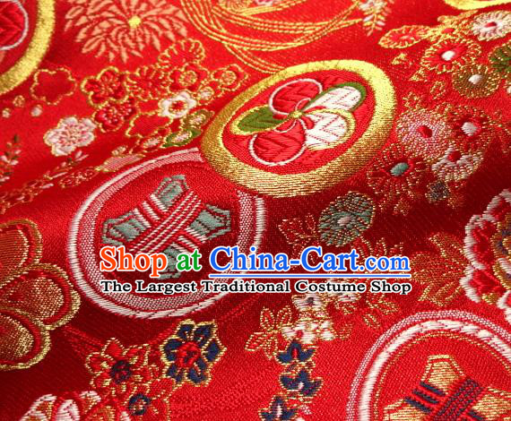 Asian Japanese Traditional Kimono Red Tapestry Satin Classical Plum Blossom Pattern Brocade Fabric Baldachin Silk Material