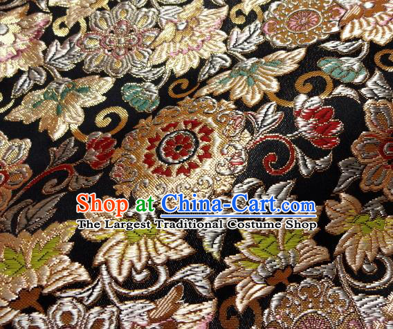 Asian Japanese Traditional Kimono Classical Grass Pattern Black Tapestry Satin Brocade Fabric Baldachin Silk Material