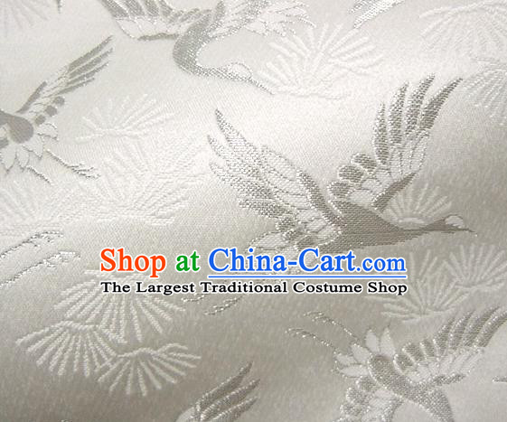 Asian Japanese Tapestry Satin Traditional Kimono Classical Cranes Pattern White Brocade Fabric Baldachin Silk Material