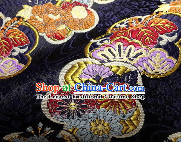 Asian Japanese Navy Tapestry Satin Traditional Kimono Classical Plum Blossom Pattern Brocade Fabric Baldachin Silk Material