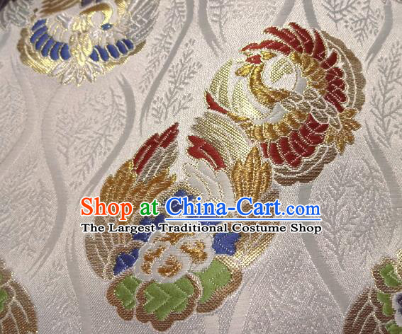 Asian Japanese White Tapestry Satin Traditional Kimono Classical Phoenix Pattern Brocade Fabric Baldachin Silk Material