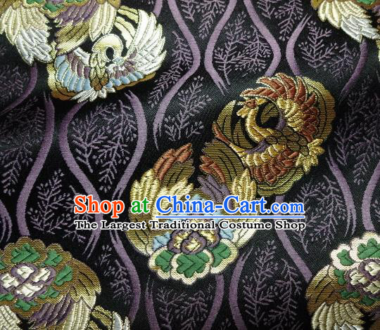 Asian Japanese Purple Tapestry Satin Traditional Kimono Classical Phoenix Pattern Brocade Fabric Baldachin Silk Material