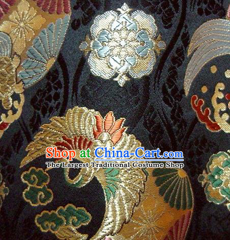 Asian Japanese Tapestry Satin Traditional Kimono Classical Cloud Crane Pattern Black Brocade Fabric Baldachin Silk Material