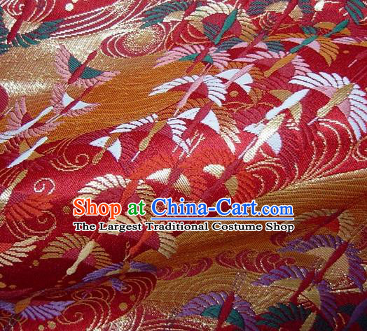 Asian Traditional Japanese Kimono Red Tapestry Satin Classical Crane Pattern Brocade Fabric Baldachin Silk Material