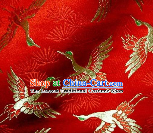 Asian Japanese Traditional Kimono Classical Cranes Pattern Red Tapestry Satin Brocade Fabric Baldachin Silk Material