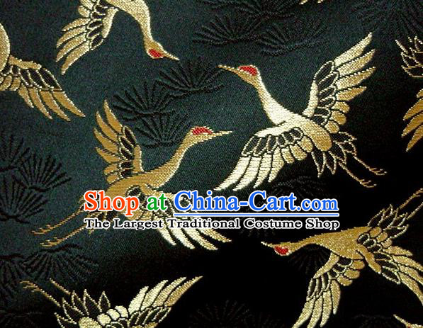 Asian Japanese Traditional Kimono Classical Cranes Pattern Black Tapestry Satin Brocade Fabric Baldachin Silk Material