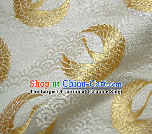 Asian Japanese Traditional Kimono Classical Golden Round Cranes Pattern Tapestry Satin Brocade Fabric Baldachin Silk Material
