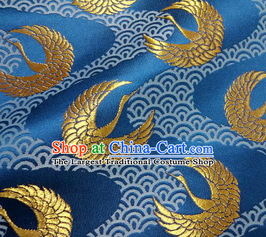 Asian Japanese Traditional Kimono Classical Round Cranes Pattern Blue Tapestry Satin Brocade Fabric Baldachin Silk Material