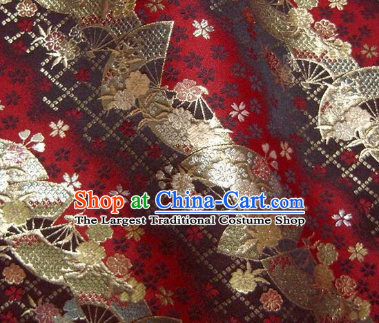 Asian Japanese Traditional Kimono Classical Fan Pattern Red Tapestry Satin Brocade Fabric Baldachin Silk Material