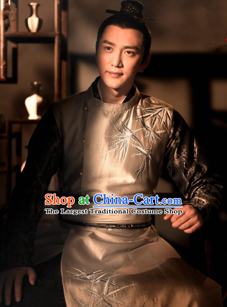 The Story Of MingLan Chinese Ancient Song Dynasty Imperial Academy Officer Embroidered Costume for Men