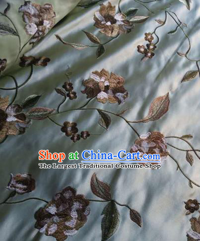 Asian Traditional Fabric Classical Embroidered Peony Pattern Blue Watered Gauze Brocade Satin Silk Material