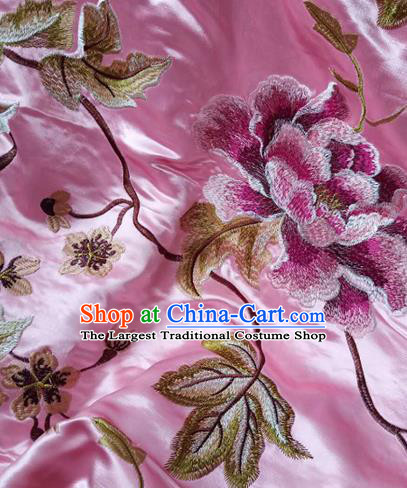Asian Traditional Fabric Classical Embroidered Peony Pattern Pink Watered Gauze Brocade Satin Silk Material