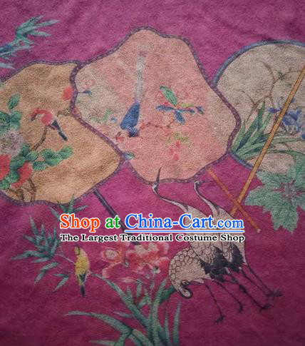 Asian Traditional Fabric Classical Cranes Pattern Rosy Watered Gauze Brocade Satin Silk Material