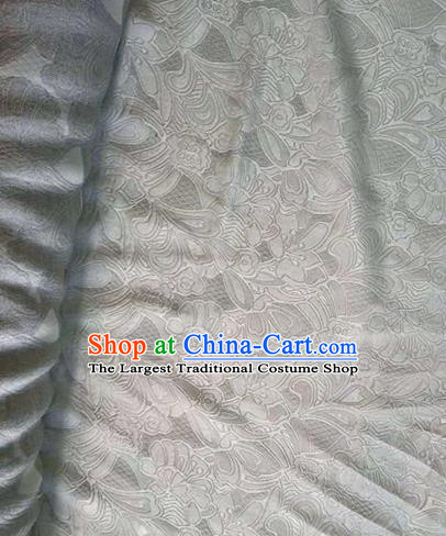Asian Traditional Fabric Classical Embroidered Pattern White Watered Gauze Brocade Satin Silk Material