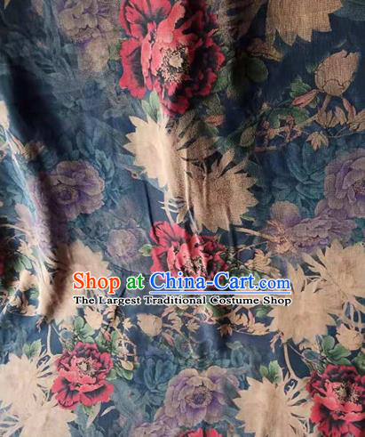 Asian Traditional Fabric Classical Peony Pattern Navy Watered Gauze Brocade Satin Silk Material