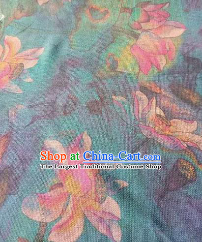 Asian Traditional Fabric Classical Lotus Pattern Green Watered Gauze Brocade Satin Silk Material