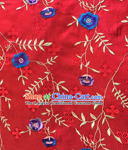 Asian Traditional Fabric Classical Embroidered Flowers Pattern Red Brocade Satin Silk Material