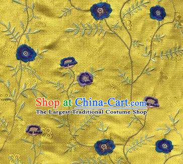 Asian Traditional Fabric Classical Embroidered Flowers Pattern Yellow Brocade Satin Silk Material