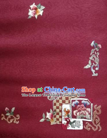 Asian Traditional Fabric Classical Embroidered Flowers Pattern Wine Red Brocade Satin Silk Material