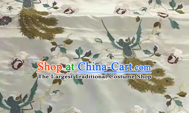 Asian Traditional Fabric Classical Embroidered Phoenix Pattern White Brocade Chinese Satin Silk Material