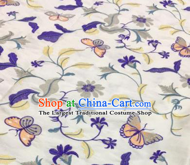 Asian Traditional Fabric Classical Embroidered Butterfly Pattern White Brocade Chinese Satin Silk Material