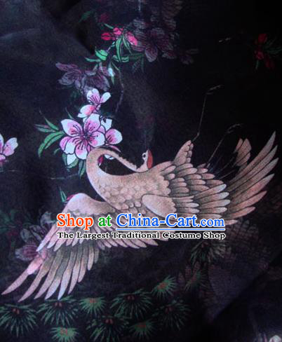 Asian Traditional Fabric Classical Crane Pattern Black Watered Gauze Brocade Chinese Satin Silk Material