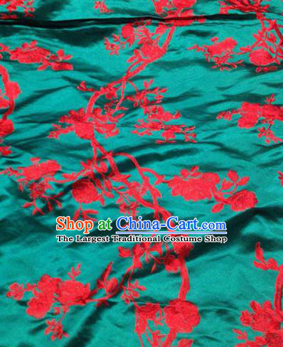 Asian Traditional Fabric Classical Pattern Green Watered Gauze Brocade Chinese Satin Silk Material